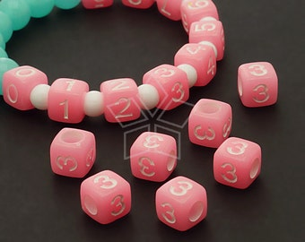 LR-066-PK / 10 Pcs - Numeric Luminous Beads, Phone Number Bead, Anniversary Date, Number Three, 3, PINK Square / 7mm
