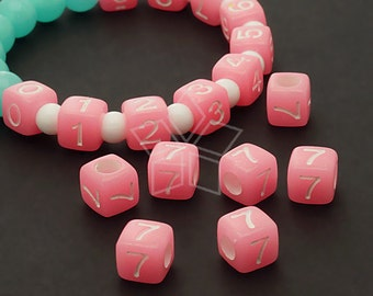 LR-070-PK / 10 Pcs - Numeric Luminous Beads, Phone Number Bead, Anniversary Date, Number Seven, 7, PINK Square / 7mm