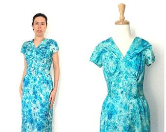 1960s  Dress - midi - pin up - wiggle dress - blue party dress - mad men - Medium