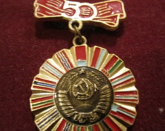 Vintage USSR CCCP Soviet Union 50th Anniversary Collectible Badge Pin