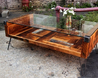 Reclaimed Wood and Tempered Glass Top Coffee Table