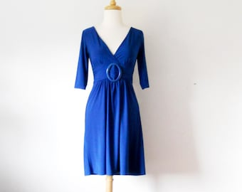 Star Vixen Women's Bright Blue Three-Quarter Sleeve Buckle Dress Size S