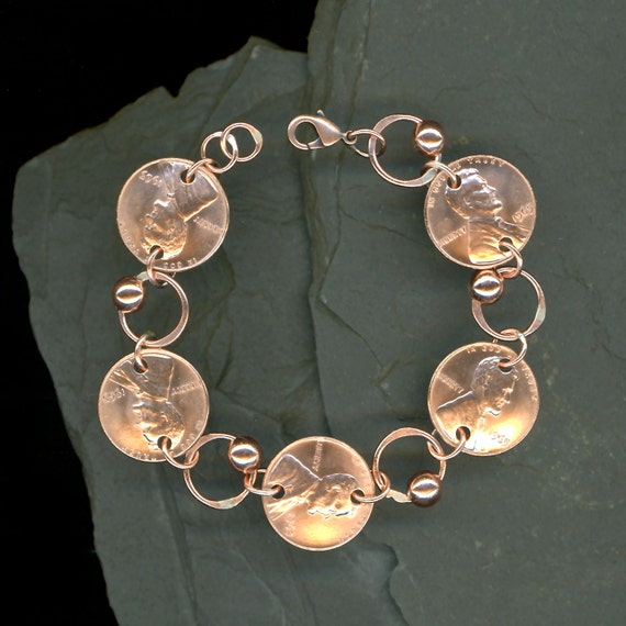 1965 Penny Coin Beaded Bracelet 50th Birthday Gift Jewelry