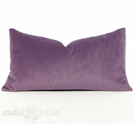 Purple Velvet Decorative Pillows : Lilac Purple Velvet Lumbar Pillow Cover 12 X 22 inch