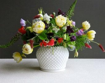 Westmoreland English Hobnail Milk Glass Vase - Large Rose Bowl White
