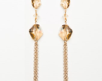 27-Golden Shadow Swarovksi Crystal Drops in 14kt gold filled