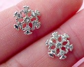 Tiny Snowflakes Cabochon Set (2pcs) (Silver w/ Clear Rhinestones) Fake Miniature Cupcake Topper Earring Making Nail Art Decoration NAC028