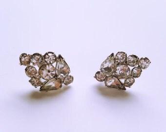 Rhinestone Earrings, Vintage Jewelry, Silver Tone Wedding Earrings, Vintage Earrings, Bridal Jewelry, Wedding Jewelry, Special Occasion