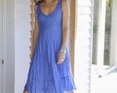 Midi Blue Linen Dress / Bright Azure Blue / Summer Dress / Pure Linen / Crinkled Linen / Boho Beach Dress / Hand Made