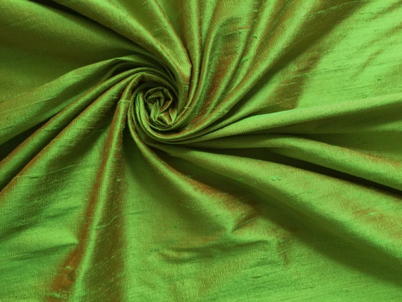 "Green Orange iridescent 100% dupioni silk fabric yardage By the yard 45"" wide"