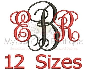 Vine Monogram Font Alphabet Machine Embroidery Designs - Instant Download - BX Format Included