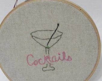 Cocktails Hoop Art Whimsical Minimalist Embroidery Hoop gift under 15