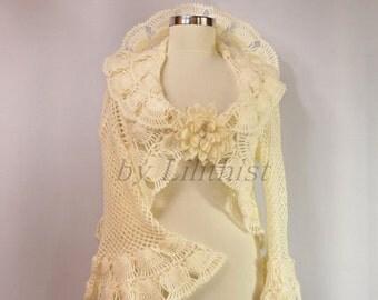 Ivory Bridal Shrug, Crochet Lace Bolero, Wedding Bolero Jacket, Crochet Shrug, Bridal Bolero Lace Shrug 3/4 Bell Sleeve Bridal Cover Up SALE