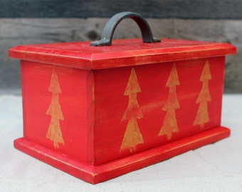 Wooden Box with Lid Painted Rustic Red with Pine Trees