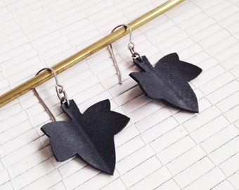 Little Ivy Leaf  Earrings - upcycled bicycle inner tube - now on sale