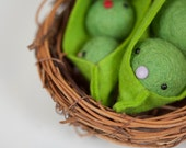 felt peas in the pod ornament L size Eco Friendly hand made toy
