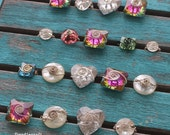Wire Wrapped COCKTAIL Rings Iridescent Square Clear Heart Shaped Crystal Plastic Flashy Rhinestones Silver Wire Custom all sizes