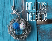 Wire Wrapped Birds Nest Pendant Necklace with Sparrow flying Swallow Mothers Necklace Pearl Beads for Eggs Children