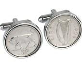 22nd Birthday- Anniversary gift-1994 Lucky Irish Cufflinks- Genuine 1994 5p Irish coins