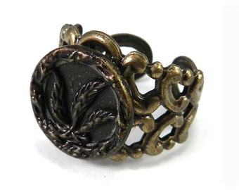 Antique Button Ring - Deep Burgundy - Victorian Floral - Victorian Button Jewelry - Adjustable - 1860-1920 - on brass