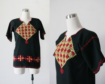 1960's Embroidered Blouse, Black Top Folk Boho Ethnic Cotton Top Small