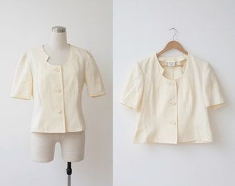 on SALE. Weill Paris 1980's Vintage Ivory Cotton Jacket White Top Summer Blazer L XL