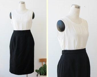 Free Shipping. Amanda smith black wool pencil skirt M L, knee length skirt 28'' waist