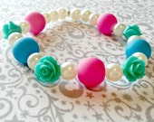Sky Blue, Hot Pink, and Turquoise Roses Stretch Bracelet - Beaded Summer Jewelry Gift