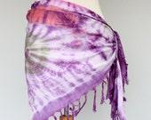 Tie Dye sarong fringe scarf beach cover up silk scarf purple pareo boho scarf swimsuit cover up hippie scarf coachella fashion women wraps