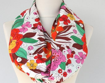 Tropical print scarf hawaiian fabric floral loop circle infinity scarves women fashion themed party summer accessories mothers day gift idea