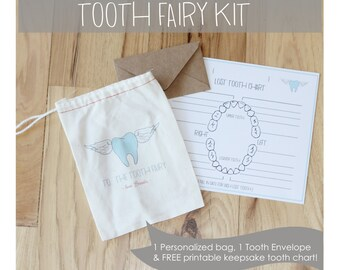 PERSONALIZED TOOTH FAIRY kit - includes 1 4x6 personalized bag - 1 tooth envelope - 1 free printable keepsake tooth chart