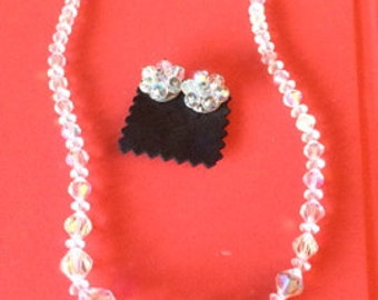 1960 Crystal necklace and clip-on cluster earring set