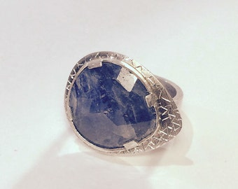 Artisan Natural Rose cut Sapphire Sterling Silver Ring, OOAK - Ready to Ship, size 8