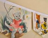 THREE LITTLE KITTENS Vintage Little Golden Book Bunting Children Party Banner Decoration Repurposed Eco friendly Nursery decoration