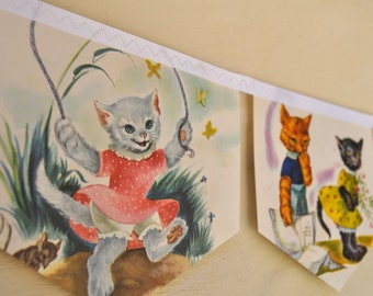 THREE LITTLE KITTENS Banner Vintage Little Golden Book Bunting Children Party Decoration Repurposed Eco friendly Nursery decoration Shower