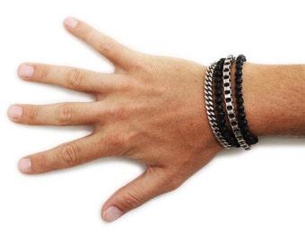Mens Silver Bracelet Wrap Stacking Black Beaded Bracelets