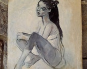 Vintage oil painting mid century modern  dancer