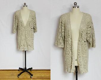 Vintage tan crochet open knit cardigan