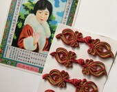 Hand-Stitched Chinese Knotted Satin Frog Closures Scarlet Red Satin and Metallic Gold Oriental Trimming