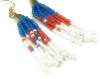 Fringe Dangle Earrings - Boho Jewelry - Red, White and Blue - Hippie - Indie - Patriotic - Seed Bead - Native - Southwest