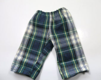 Vintage Doll Clothes Navy Blue Green White Plaid Pants Elastic Waist 1970's Hand Made Doll Pants 9 x 5 inches for 15 inch Doll