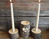 Country BROWN WOODEN Unity Candle Holder Set -Tea and Taper Candle Size - Natural Rustic Wedding Candle - Woodland Wedding Decor