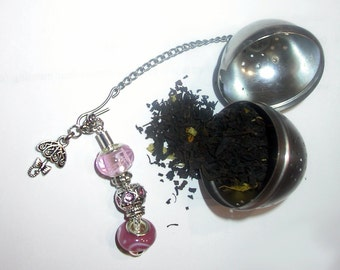 Beaded Tea Infuser Jewelry, Tea Strainer, Pink and Silver European Style Lampwork Beads with an Umbrella Charm, Great Party, Christmas Gift