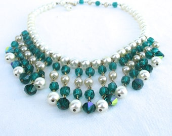 Vintage Drippy Bib Necklace with Faux Pearls and Emerald Colored Beads
