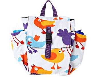 Cotton Children bag Kids day bag, diaper bag -Lily Birds print