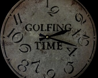 12 Inch GOLFING TIME CLOCK with Jumbled Numbers in Shades of Gray with Walnut Highlights