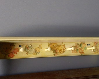 Vintage BABY Shelf Peg Rack - Painted/Shellaced with Decoupaged Cards