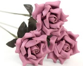 3 lilac purple leather rose bouquet third Anniversary wedding gift Long Stem leather Flower Valentines 3rd Leather Anniversary Mother's Day