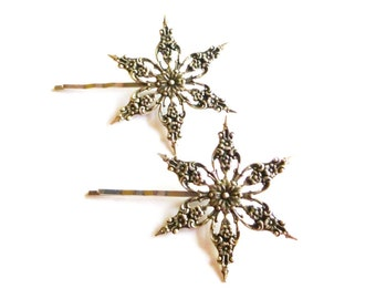 Snowflake Hair Clips Snow Flake Bobby Pins Bride Bridal Bridesmaid Silver Winter Wedding Accessories Christmas Holidays Unique Womens Gift