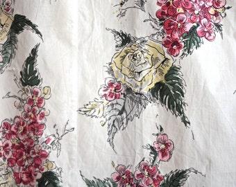 Vintage Floral Curtain // Spring Flower Drapes // 1960s Vintage Window Treatment